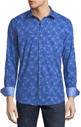 Bugatchi Shaped-Fit Floral-Line Sport Shirt, Blue