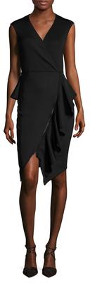 Gathered Asymmetrical Zip Sheath Dress $278 thestylecure.com
