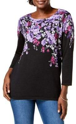 Karen Scott Three-Quarter Floral Sweater