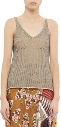 Chloé Open-Knit Sleeveless V-Neck Sweater