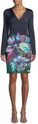 Roberto Cavalli V-Neck Long-Sleeve Exotic Floral-Print Jersey Dress