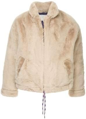 A(Lefrude)E faux fur bomber jacket
