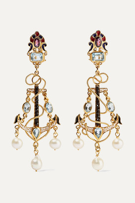 Papi Percossi Gold-plated And Enamel Multi-stone Earrings - Blue