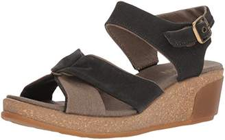 El Naturalista Women's N5007T Seaweed Canvas /Leaves Wedge Sandal