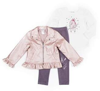 Little Lass Metallic Faux Leather Jacket, Long Sleeve Top & Colored Denim Leggings, 3pc Outfit Set (Baby Girls & Toddler Girls)