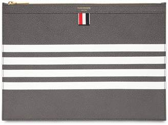 Thom Browne Medium Zipper Pebbled Leather Pouch