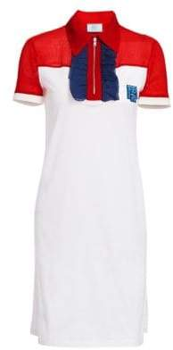 Prada Women's Ruffle Zip Neck Logo Tee Dress - Rosso White Ink - Size Medium