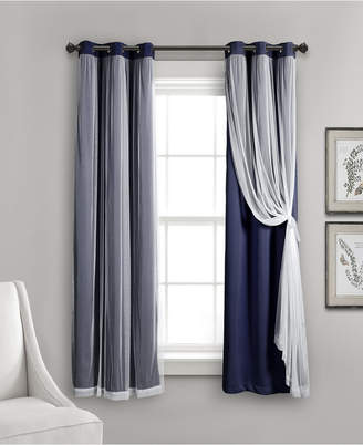 "Lush Decor 63""x38"" Grommet Sheer Panels with Insulated Blackout Lining"