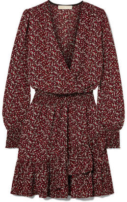 65dc67327d MICHAEL Michael Kors Wrap-effect Printed Crepe Mini Dress - Burgundy