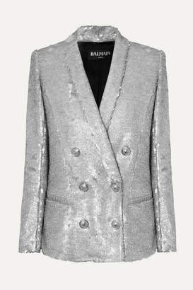 Balmain Double-breasted Matte Sequined Crepe Blazer - Silver