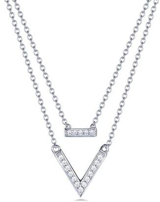 Lafonn Platinum Over Sterling Silver Simulated Diamond Pendant Layer Necklace