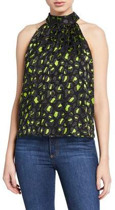Alice + Olivia Kinsley Animal-Print Gathered Halter Top