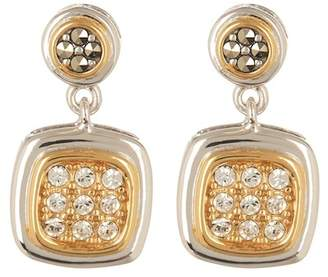 Judith Jack Two-Tone Swarovski Crystal Button Drop Earrings