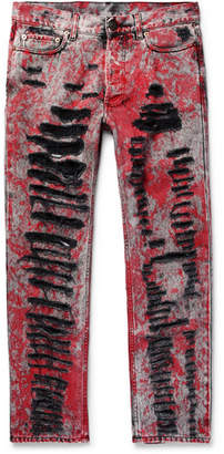 Gucci Skinny-Fit Painted Distressed Jeans - Red