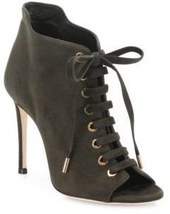 Mavy Suede Peep-Toe Lace-Up Booties $895 thestylecure.com