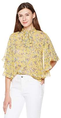 Plumberry Women's Floral Printed Button Down Shirts - Ruffle Neck Batwing Sleeve Blouse Tops