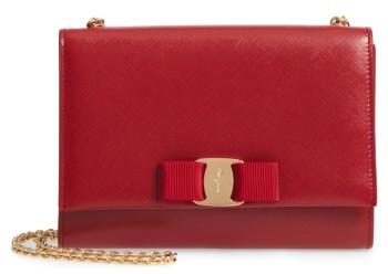 Salvatore Ferragamo Mini Vara Leather Crossbody Bag - Red