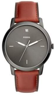Fossil The Minimalist Three-Hand Carbon Series Stainless Steel, Diamond Leather-Strap Watch