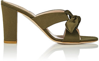 Barneys New York Women's Bow-Detailed Satin Mules $285 thestylecure.com