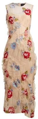 Simone Rocha Floral Embroidered Ruffled Tulle Dress - Womens - Nude
