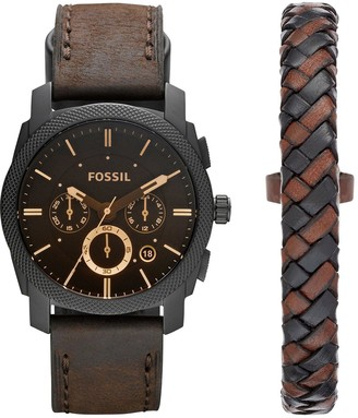 Machine Watch and Leather Cuff Mens Gift Set