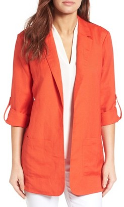 Women's Chaus Linen Blend Roll Tab Jacket $99 thestylecure.com