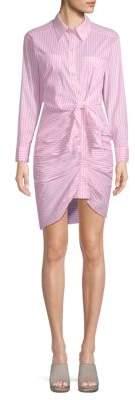 Ruched Stripe Shirtdress