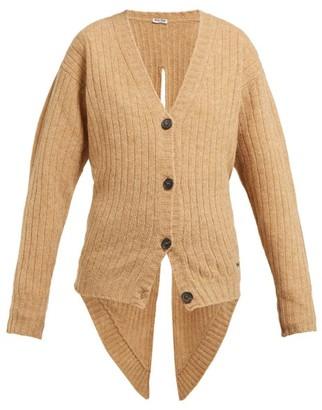 Miu Miu Tie Back Wool Cardigan - Womens - Beige