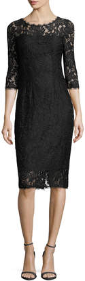 T Tahari Women's Riley Lace Sheath Dress