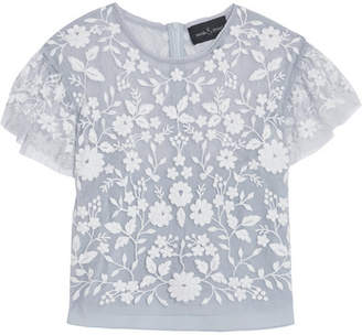 Needle & Thread - Meadow Cropped Embroidered Tulle Top - Sky blue $245 thestylecure.com
