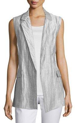 Lafayette 148 New York Scarlet Crinkled Belted Vest $398 thestylecure.com