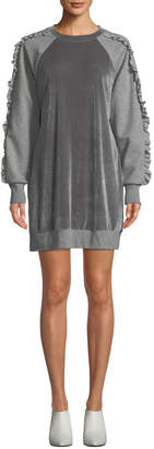 Elie Tahari Destine Crewneck Velvet Combo Knit Dress w/ Ruffled Trim