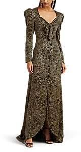 Rebecca de Ravenel Women's Cheetah-Print Silk Satin Tie-Front Gown - Leopard