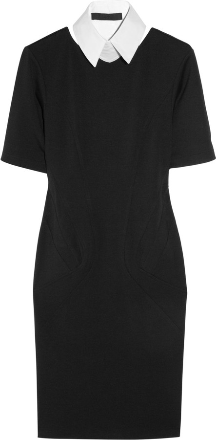 Karl Interlock collared stretch-jersey dress