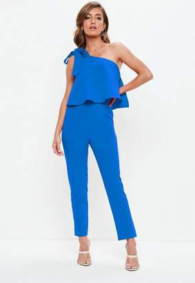 Missguided Blue One Shoulder Bow Romper