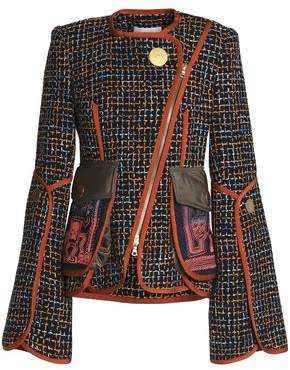 Peter Pilotto Embroidered Shell-Paneled Tweed Jacket
