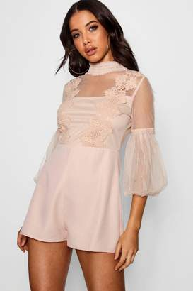 boohoo Boutique Embroidered Playsuit
