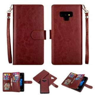 Hlc 2 in 1 Leather Wallet Case with 9 Credit Card Slots and Removable Back Cover for Galaxy Note 9 -Rose Gold