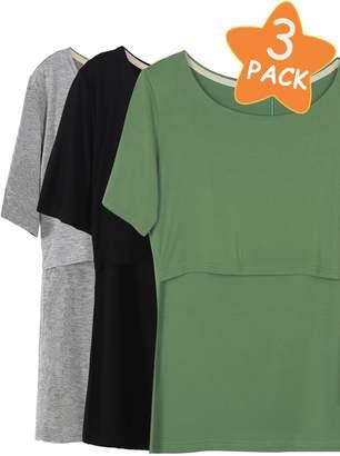 show 3 Pcs Nursing T-Shirt Nursing Tops Navy-Black-Grey