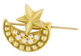 Judith Ripka 18K Diamond Moon & Star Brooch yellow 18K Diamond Moon & Star Brooch