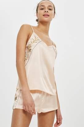 Topshop Embroidered Satin Pyjama Set