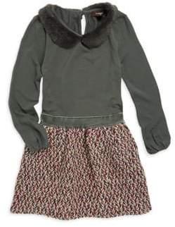 Imoga Little Girl's& Girl's Faux Fur Collar Fit-&-Flare Dress