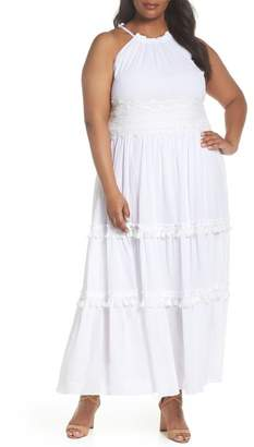 Eliza J Halter Neck Cotton Maxi Dress (Plus Size)