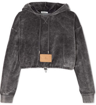 Alexander Wang Cropped Cotton-blend Velour Hooded Top - Dark gray