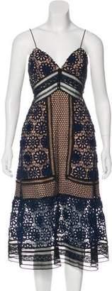 Self-Portrait Sleeveless Lace-Accented Midi Dress