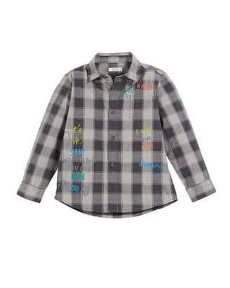 Mayoral Graffiti-Print Check Button-Down Shirt, Size 3-7