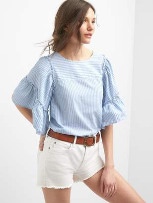 Poplin stripe bell-sleeve top $49.95 thestylecure.com