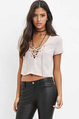 Forever 21 Lace-Up Crop Top