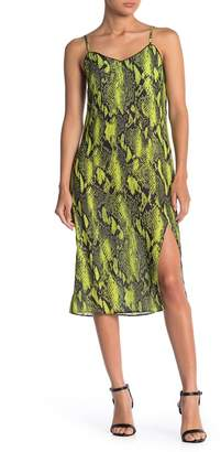 Know One Cares Snake Print Side Slit Midi Dress