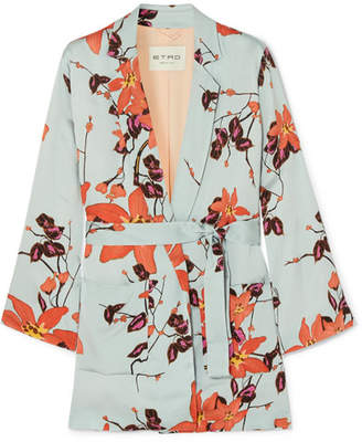 Etro Floral-print Satin Wrap Jacket - Orange